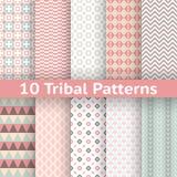 10 modelli senza cuciture di vettore tribale (piastrellatura) Fotografia Stock Libera da Diritti