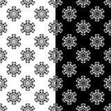 Modelli senza cuciture floreali in bianco e nero Insieme degli ambiti di provenienza Fotografie Stock Libere da Diritti