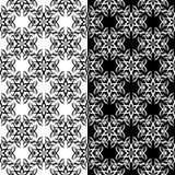 Modelli senza cuciture floreali in bianco e nero Insieme degli ambiti di provenienza Immagine Stock