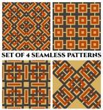 Modelli senza cuciture geometrici con l'ornamento celtico delle tonalità grige, arancio e beige Fotografie Stock Libere da Diritti