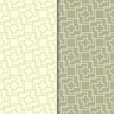 Modelli senza cuciture geometrici di verde verde oliva Immagini Stock