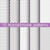 10 modelli senza cuciture monocromatici per fondo universale Fotografia Stock Libera da Diritti