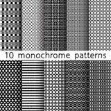 10 modelli senza cuciture monocromatici per fondo universale nero Fotografia Stock