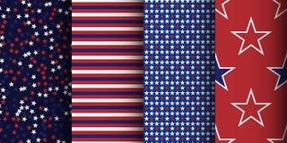 Modelli senza cuciture a strisce e stellati patriottici americani determinati Tessuto, avvolgersi e fondo dell'abito illustrazione di stock