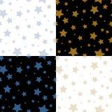 Modelli senza cuciture svegli delle stelle semplici sull'insieme in bianco e nero, vettore Fotografia Stock Libera da Diritti