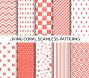 Modelli senza cuciture viventi di vettore di colore di corallo Insieme degli ambiti di provenienza astratti illustrazione di stock
