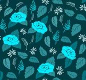 Modelli stilizzato floreale senza cuciture delle rose e delle foglie nei toni del turchese per tessuto Fotografie Stock Libere da Diritti