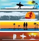 Modelli tropicali della bandiera di Web della spiaggia Fotografia Stock