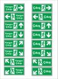 Modelli turchi del contrassegno, segno di rischio, segno proibito, segni di salute e sicurezza sul lavoro, insegna d'avvertimento illustrazione vettoriale