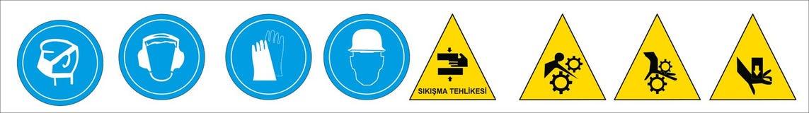 Modelli turchi del contrassegno, segno di rischio, segno proibito, segni di salute e sicurezza sul lavoro, insegna d'avvertimento illustrazione di stock
