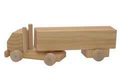 Modelli un camion con un rimorchio di legno Fotografie Stock