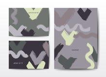 Modelli variopinti di vettore di lerciume delle cartoline moderne della spazzola illustrazione vettoriale