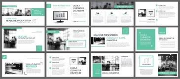 Modelli verdi di presentazione per il BAC degli elementi di infographics dello scorrevole illustrazione vettoriale