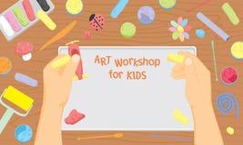 Modellieren der Werkstatt für Kinder lizenzfreie stockbilder