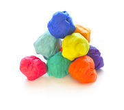 Modelling clay balls on white Royalty Free Stock Image