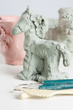 Modelling a clay horse Stock Photography