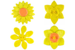 Modelling clay sunflower, daffodil and golden gardenia flower Stock Photos