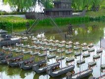Modellkopior av den kinesiska vattenstriden av tre kungariken royaltyfri bild