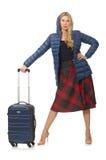 Modello abbastanza femminile in giacca blu isolata sul Fotografia Stock