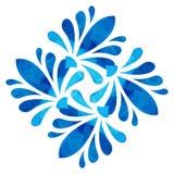 Modello acquerello - fiore astratto blu Immagine Stock