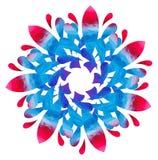 Modello acquerello - fiore astratto della Blu-rosa Immagine Stock
