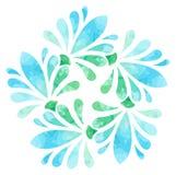 Modello acquerello - fiore dell'estratto di verde blu Immagine Stock