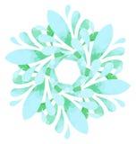 Modello acquerello - fiore dell'estratto di verde blu Immagine Stock Libera da Diritti