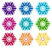 Modello acquerello - un insieme di nove fiori astratti Fotografia Stock Libera da Diritti