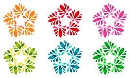 Modello acquerello - un insieme di sei fiori astratti Immagine Stock Libera da Diritti
