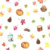 Modello adorabile di autunno dell'acquerello Immagini Stock Libere da Diritti