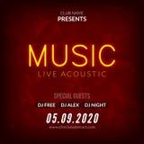 Modello al neon del fondo del manifesto di Live Music Concert Acoustic Party con l'aletta di filatoio al neon del segno del testo illustrazione di stock