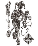 Modello allegro di progettazione di logo di vettore del burlone circus illustrazione di stock