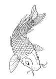 Modello allineato di stile giapponese del tatuaggio del pesce di Koi Immagini Stock Libere da Diritti