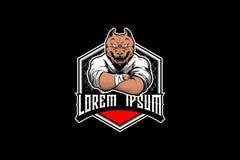 Modello animale di logo del Muttahida Majlis-E-Amal dell'atleta di arti marziali di Pitbull del carattere illustrazione vettoriale