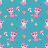 Modello animale senza cuciture sveglio per le progettazioni dei bambini con le volpi pastelli, le foglie ed i funghi rosa e viola illustrazione di stock