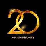 Modello 20 anni di anniversario di vettore Illustratio di congratulazioni Immagini Stock Libere da Diritti
