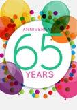 Modello 65 anni di congratulazioni di anniversario, cartolina d'auguri, illustrazione di vettore dell'invito Fotografie Stock