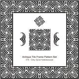 Modello antico set_076 Grey Spiral Kaleidoscope della struttura delle mattonelle Immagini Stock