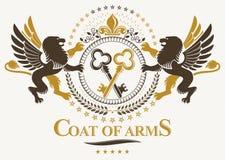 Modello araldico di lusso dell'emblema di vettore Vettore w composto blasone royalty illustrazione gratis