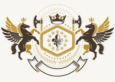 Modello araldico di lusso dell'emblema di vettore composto con il wea antico illustrazione vettoriale