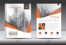Modello arancio dell'aletta di filatoio dell'opuscolo del rapporto annuale della copertura creativo illustrazione di stock