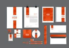 Modello arancio di identità corporativa per il vostro affare Immagine Stock Libera da Diritti