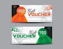 Modello arancio e verde del buono di regalo, progettazione del buono, biglietto, automobile Fotografia Stock