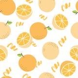 Modello arancio senza cuciture su fondo bianco Fotografia Stock