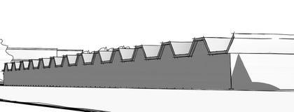 Modello architettonico della costruzione del disegno di schizzo fotografia stock libera da diritti