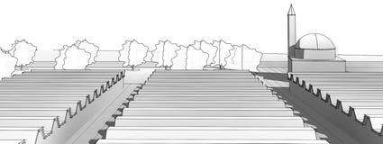 Modello architettonico della costruzione del disegno di schizzo immagine stock libera da diritti