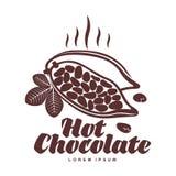 Modello arrostito di logo delle fave di cacao Fotografie Stock