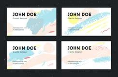 Modello artistico del biglietto da visita Colpi creativi della spazzola con i colori pastelli Insieme delle disposizioni royalty illustrazione gratis