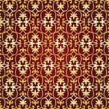 Modello asiatico dell'oro su un fondo rosso Fondo posteriore per il desi Fotografie Stock Libere da Diritti