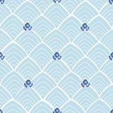 Modello astratto blu con i fiori royalty illustrazione gratis